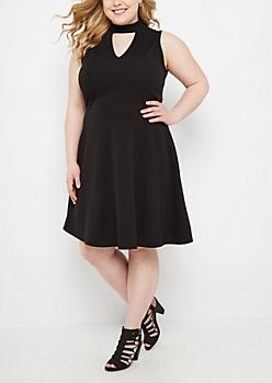 Plus Black Keyhole Skater Dress