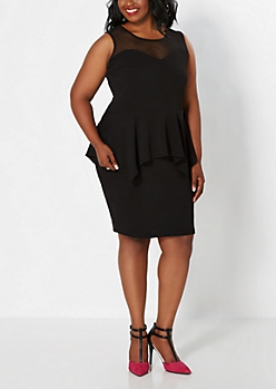Plus Black Sweetheart Mesh Peplum Dress