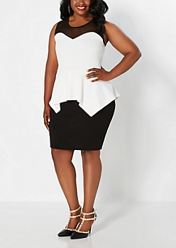Plus White Sweetheart Mesh Peplum Dress