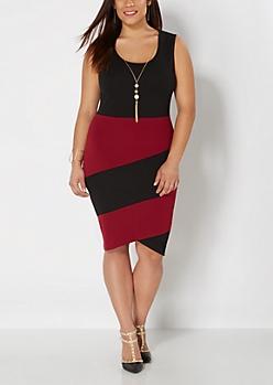 Plus Black Color Split Bodycon Dress