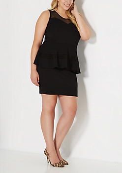 Plus Mesh Illusion Peplum Dress