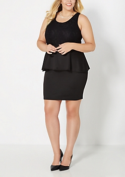 Plus Floral Lace Peplum Dress