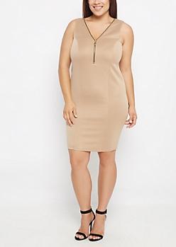 Plus Stone Zip Neck Bodycon Dress