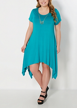 Plus Teal Sharkbite Dress & Geo Necklace Set