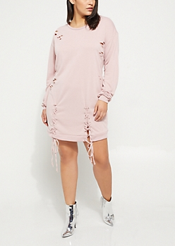 Plus Pink Distressed Lace Up Sweatshirt Dress