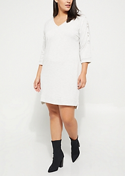 Plus Gray Lace Up Sleeves V-Neck Sweatshirt Dress