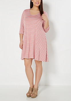 Plus Pink Pencil Striped Tent Dress