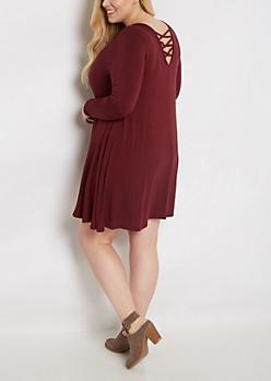 Plus Burgundy Lattice Back Swing Dress