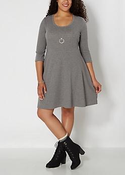 Plus Gray Chevron Embossed Skater Dress