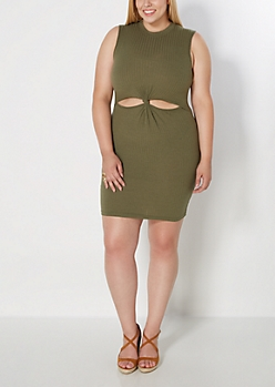 Plus Olive Knotted Cut-Out Dress