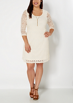 Plus Ivory Lace Promenade Dress