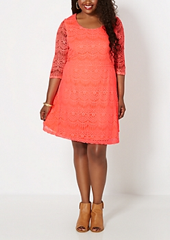 Plus Neon Orange Lace Promenade Dress