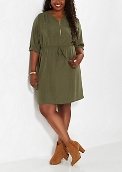 Plus Olive Green Pocketed Equipment Dress