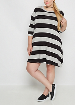 Plus Wide Striped Tent Dress