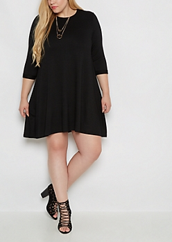 Plus Black French Terry Swing Dress