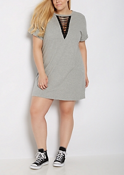 Plus Heather Gray Lace Up Choker Dress