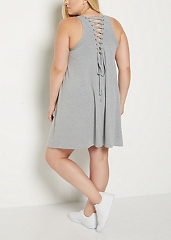 Plus Heather Gray Lace Up Back Dress