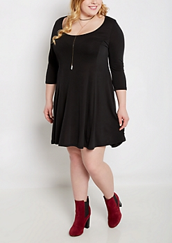 Plus Black Princess Skater Dress