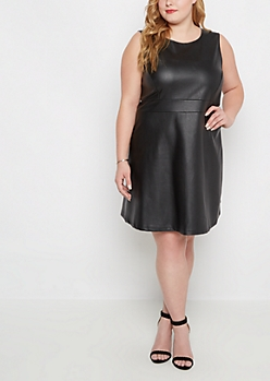 Plus Mock Leather Skater Dress