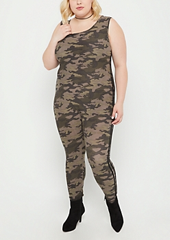 Plus Camo Striped Jumpsuit
