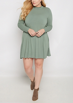 Plus Olive Crepe Mock Neck Swing Dress