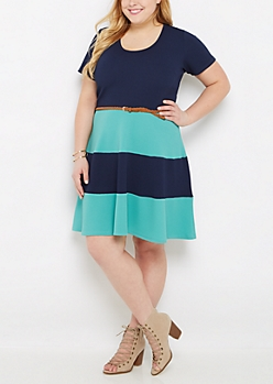 Plus Striped Textured Knit & Belted Skater Dress