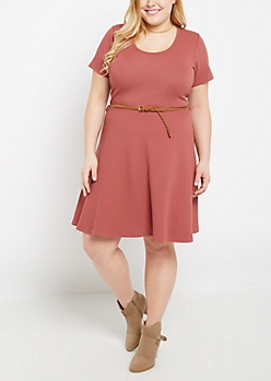 Plus Dusty Pink Textured & Belted Skater Dress