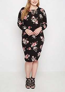 Plus Black Rose Lace-Up Dress