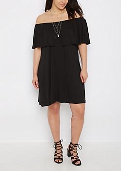 Plus Black Flounce Off-Shoulder Dress