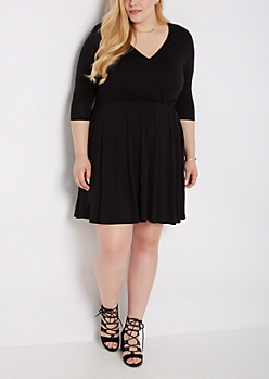Plus Black Boho Surplice Skater Dress