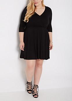 Plus Black Boho Surplice Skater Dress