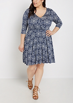 Plus Navy Boho Surplice Skater Dress