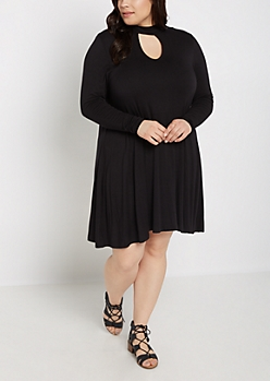Plus Black Keyhole Long Sleeve Dress