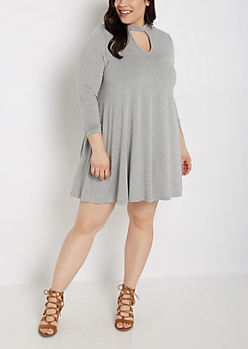 Plus Heather Gray Keyhole Long Sleeve Dress
