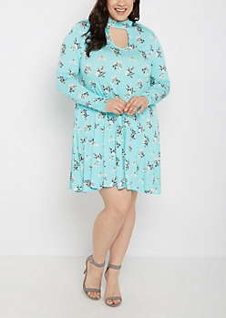 Plus Turquoise Keyhole Long Sleeve Dress