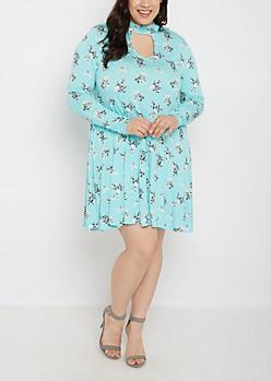 Plus Turquoise Keyhole Long Sleeve Dress