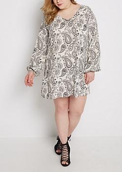 Plus Floral Paisley Keyhole Dress