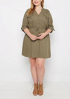 Plus Olive Challis Shirt Dress