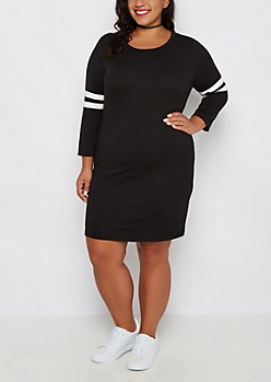 Plus Black Soft Knit Varsity Stripe Dress