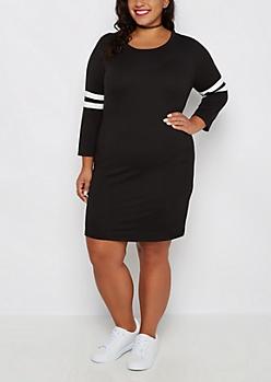 Plus Black Soft Knit Varsity Stripe Dress