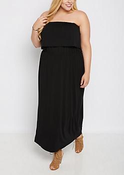 Plus Black Flounce Off-Shoulder Maxi Dress