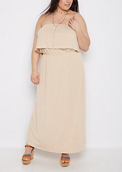 Plus Taupe Flounce Off-Shoulder Maxi Dress