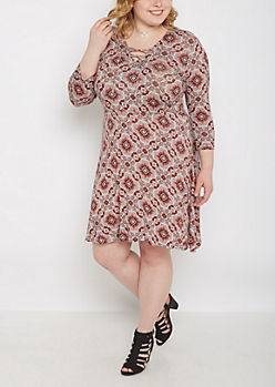 Plus Floral Medallion Lace-Up Dress