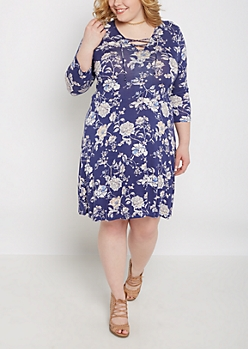 Plus Vintage Wildflower Lace-Up Dress