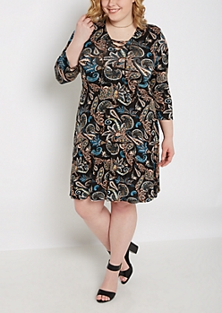 Plus Floral Paisley Lace-Up Dress