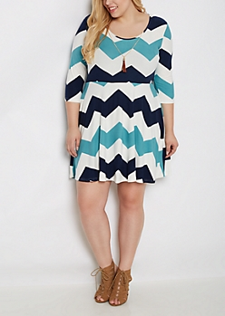 Plus Navy Chevron Skater Dress & Tassel Necklace