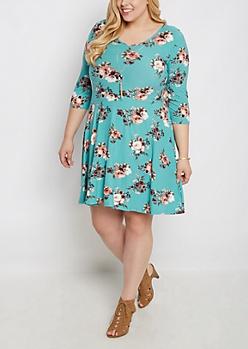 Plus Mint Rose Skater Dress & Stone Necklace