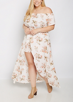 Plus Wildflower Off Shoulder Maxi Romper