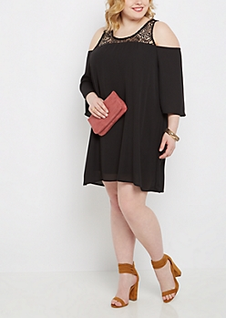 Plus Black Lace Yoke Cold Shoulder Dress