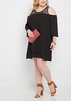 Plus Black Lace Yoke Cold Shoulder Dress